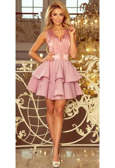 5b236c55e0 200-5 CHARLOTTE - ekskluzywna sukienka z koronkowym dekoltem - PUDROWY RÓŻ  ...
