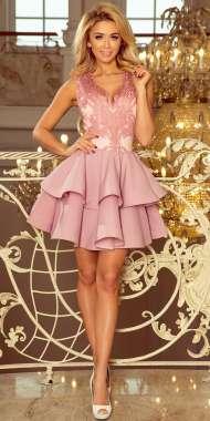 a7def6073b9d98 200-5 CHARLOTTE - ekskluzywna sukienka z koronkowym dekoltem - PUDROWY RÓŻ