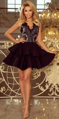 3011517876 200-3 CHARLOTTE - ekskluzywna sukienka z koronkowym dekoltem - CZARNA