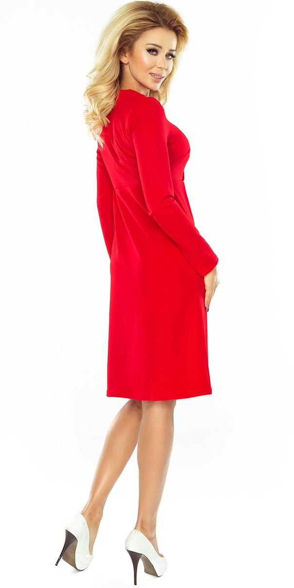 3955ae5463 158-2 OLA sukienka trapezowa z wiązaniem pod szyją - CZERWONA. ‹ ›