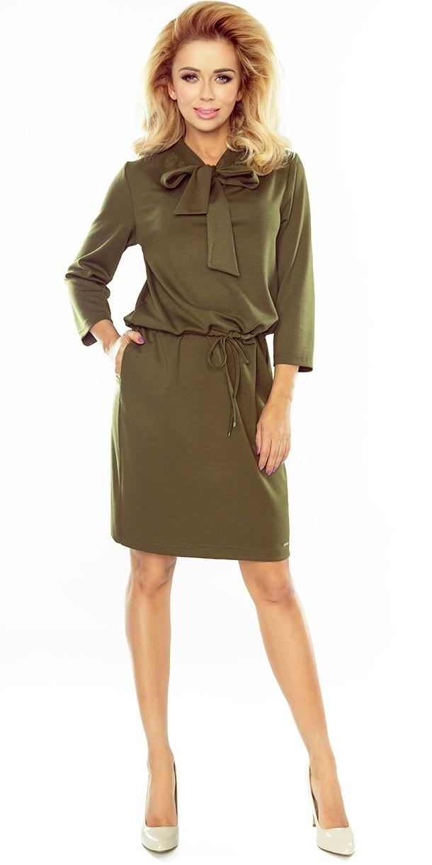 32c606e96b0990 Sukienka NUMOCO wiązana pod szyją 177-1 KHAKI Numoco SAF - E-lady.pl