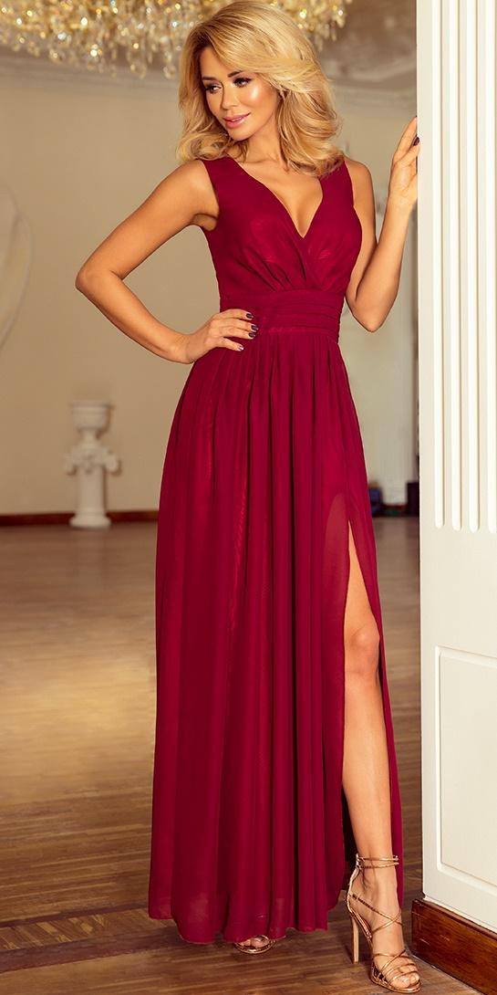 752578c128 Sukienka NUMOCO MAXI z rozcięciem 166-3 BORDOWA Numoco SAF- sklep ...